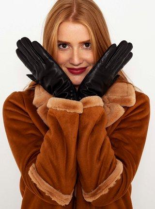 Čierne kožené rukavice CAMAIEU