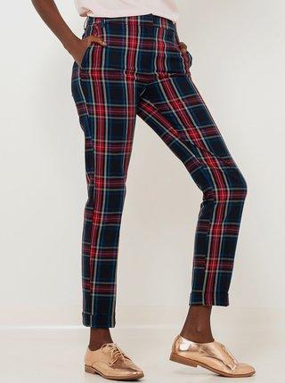 Tmavě modré zkrácené kostkované kalhoty CAMAIEU