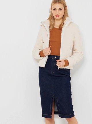 Krémová bunda s umělým kožíškem CAMAIEU