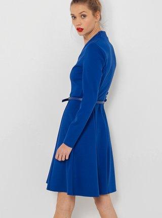 Modré šaty s páskem CAMAIEU