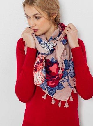 Starorůžový květovaný šátek CAMAIEU