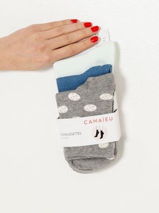 Ponožky pre ženy CAMAIEU - sivá, biela