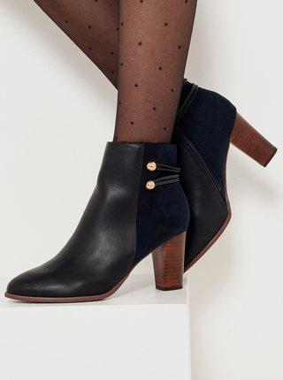 Černé kotníkové boty na podpatku CAMAIEU