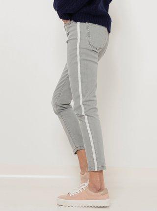 Šedé zkrácené straight fit džíny s lampasem CAMAIEU