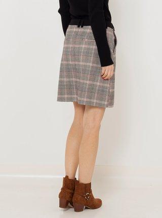 Šedá kostkovaná sukně s kapsami CAMAIEU