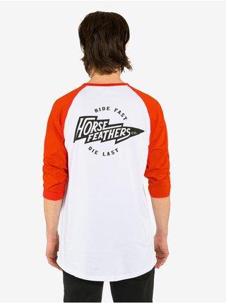 Horsefeathers FLASH tomato red pánské triko s dlouhým rukávem - bílá