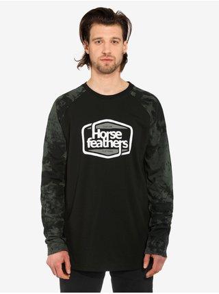 Horsefeathers CORNICK black pánské triko s dlouhým rukávem - černá
