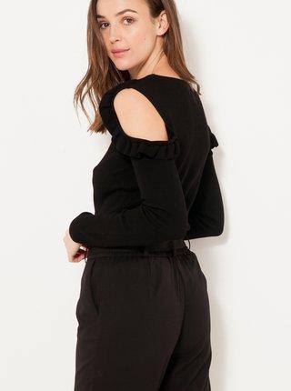 Černý lehký svetr s průstřihy a volánem CAMAIEU