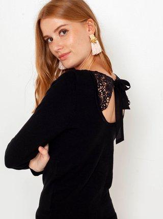 Čierny ľahký sveter s mašľou CAMAIEU