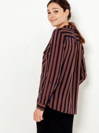 Hnědo-černá pruhovaná košile s kapsami CAMAIEU