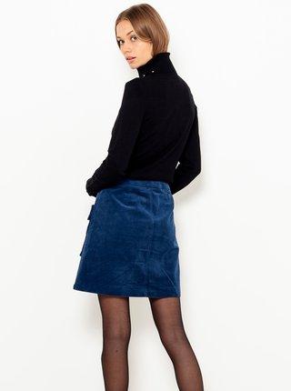 Tmavě modrá sametová sukně s kapsami CAMAIEU