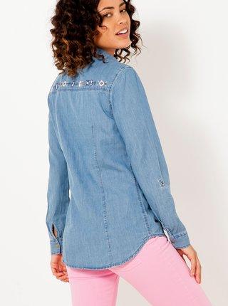 Modrá rifľová košeľa s výšivkou CAMAIEU