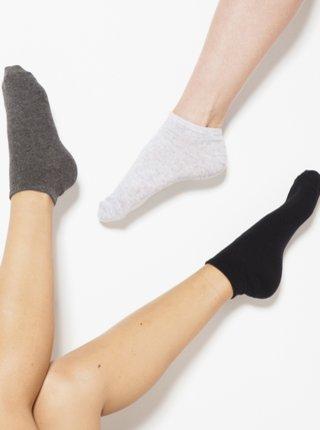 Sada troch párov ponožiek v čiernej a šedej farbe CAMAIEU