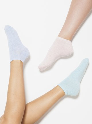 Sada tří párů ponožek v růžové a modré barvě CAMAIEU