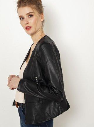 Čierna koženková bunda CAMAIEU