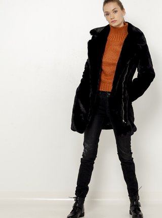 Černý kabát z umělého kožíšku CAMAIEU