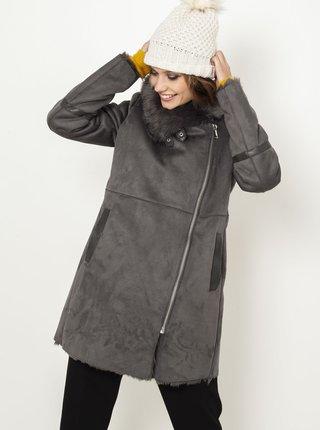 Šedý zimní kabát v semišové úpravě CAMAIEU