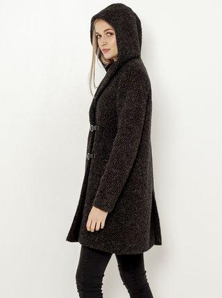 Tmavě hnědý vlněný kabát CAMAIEU