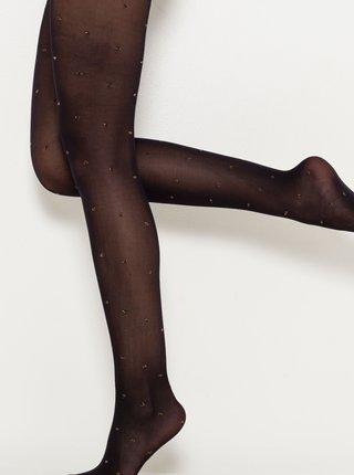 Černé vzorované punčochové kalhoty CAMAIEU