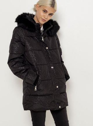 Černý zimní prošívaný kabát s leopardím vzorem CAMAIEU