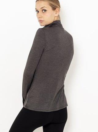 Tmavě šedé tričko s rolákem a krajkovými detaily CAMAIEU