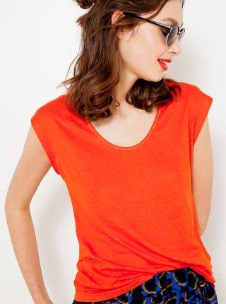 Oranžový ľanový top CAMAIEU