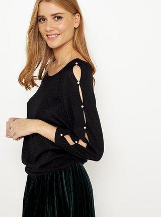 Černý lehký svetr s průstřihy na rukávech CAMAIEU