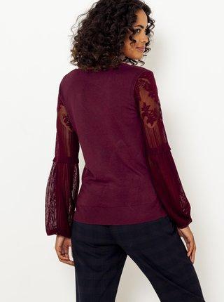 Vínový ľahký sveter s krajkovými rukávmi CAMAIEU