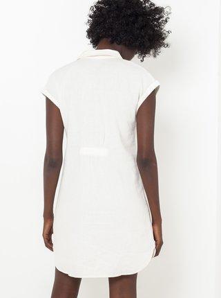 Biele košeľové ľanové šaty s asymetrickým zapínaním CAMAIEU