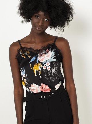 Černé květované tílko lemované krajkou CAMAIEU