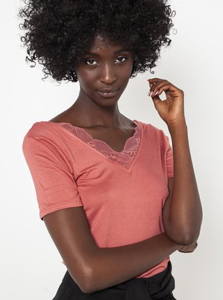 Marhuľové tričko s krajkovou vsadkou CAMAIEU