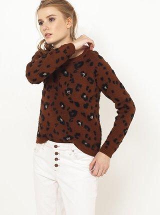 Tmavě hnědý svetr s leopardím vzorem CAMAIEU