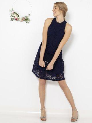 Tmavě modré krajkované šaty CAMAIEU