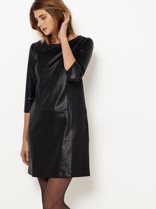 Černé koženkové šaty s tříčtvrečním rukávem CAMAIEU