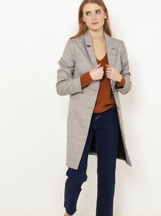 Světle šedý kostkovaný lehký kabát CAMAIEU