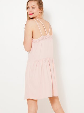 Světle růžové šaty na raminka CAMAIEU