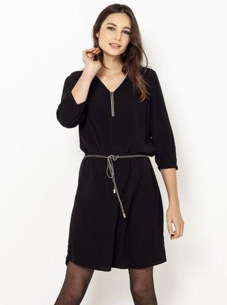 Čierne šaty s 3/4 rukávom CAMAIEU
