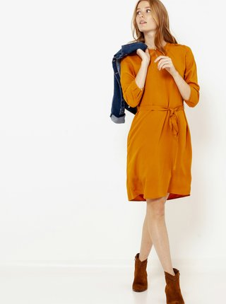 Oranžové šaty s tříčrvrtečním rukávem CAMAIEU