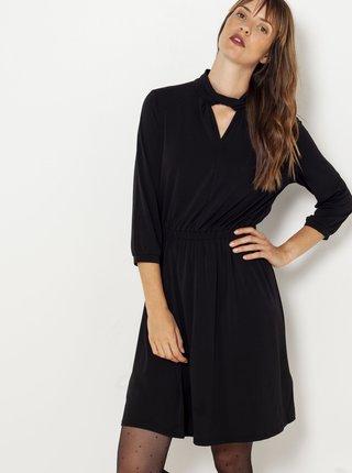Černé šaty s tříčtvrtečním rukávem a stojáčkem CAMAIEU
