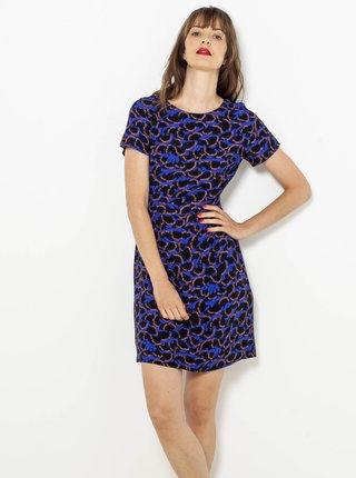 Tmavě modré vzorované pouzdrové šaty CAMAIEU