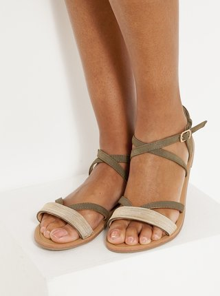 Béžovo-khaki sandále v semišové úpravě CAMAIEU
