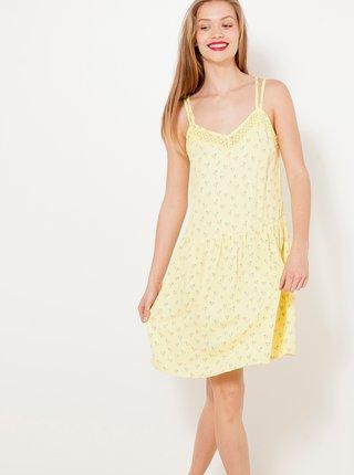 Žluté vzorované šaty na ramínka CAMAIEU