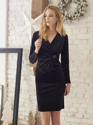 Černé semišové pouzdrové šaty CAMAIEU