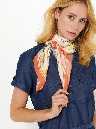 Krémový květovaný šátek CAMAIEU