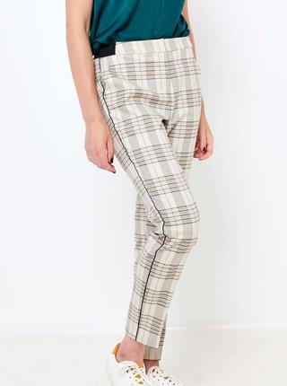 Krémové kockované nohavice CAMAIEU