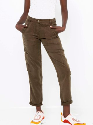 Khaki straight fit kalhoty CAMAIEU