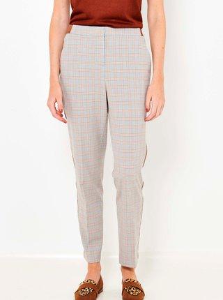Oranžovo-šedé kostkované kalhoty CAMAIEU