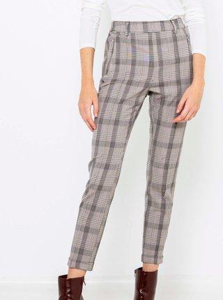 Šedé zkrácené kostkované kalhoty CAMAIEU