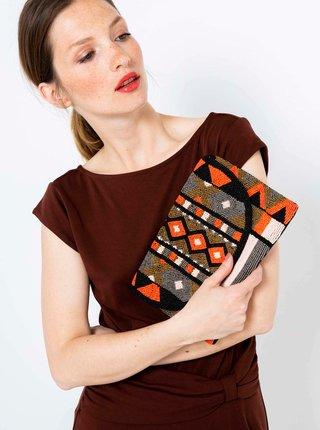 Šedo-oranžová vzorovaná crossbody kabelka s korálkami CAMAIEU