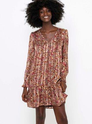 Vínovo-hnědé květované šaty CAMAIEU
